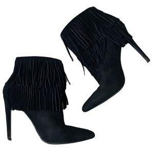 JustFab Ameelia Black Fringe Pointed Toe Bootie 7
